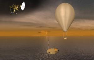 fig.4 Il robot Planetary Lake Lander della NASA galleggia su un lago di Ttiano in questa rappresentazione artistica. Illustrazione per gentile concessione NASAJPL